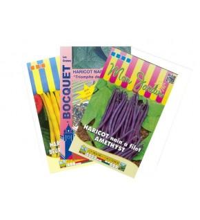 Lot de Haricot Nain Coloré (3 sachets de graines à semer)