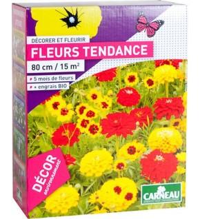 Fleurs tendance jaune, orange,rouge 520g pour 15 m2