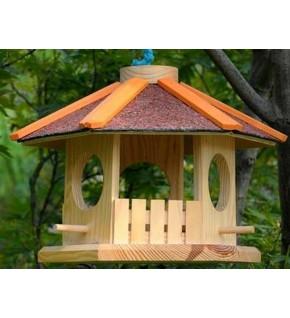 Maisonnette distributeur aliments oiseaux ronde modèle luxe