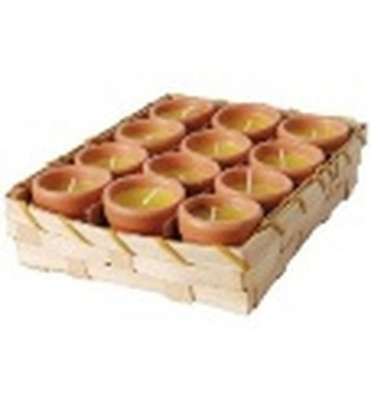 Bougies citronnelle 12 pots présentés en corbeille